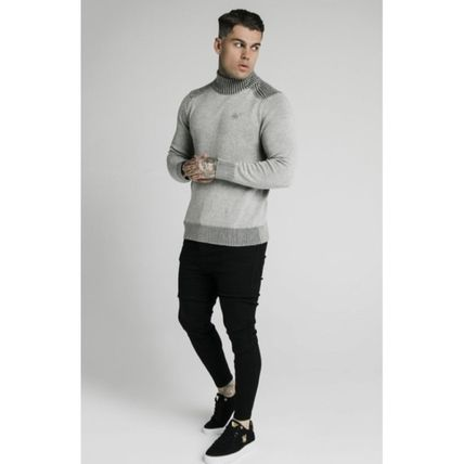 SikSilk Sweaters Pullovers Blended Fabrics Street Style Long Sleeves Plain 11