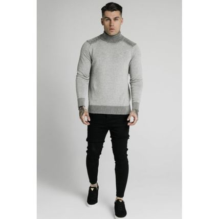 SikSilk Sweaters Pullovers Blended Fabrics Street Style Long Sleeves Plain 12