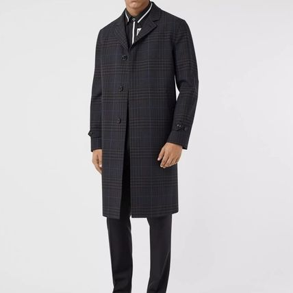 Burberry Wool Street Style Plain Long Logo Chester Coats