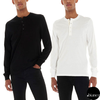 Henry Neck Long Sleeves Plain Cotton Long Sleeve T-shirt