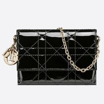 Christian Dior LADY DIOR Casual Style Calfskin 2WAY Chain Plain Leather Elegant Style