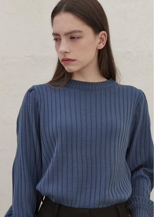 Crew Neck Casual Style Street Style U-Neck Long Sleeves