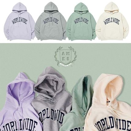 AMES-WORLDWIDE Hoodies Pullovers Unisex Sweat Street Style Long Sleeves Cotton