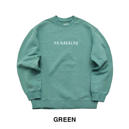 MARKM Sweatshirts Crew Neck Pullovers Unisex U-Neck Long Sleeves Plain Cotton 2