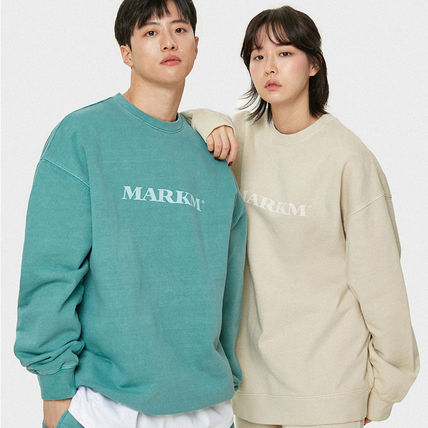 MARKM Sweatshirts Crew Neck Pullovers Unisex U-Neck Long Sleeves Plain Cotton 4