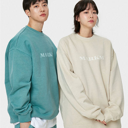 MARKM Sweatshirts Crew Neck Pullovers Unisex U-Neck Long Sleeves Plain Cotton 5