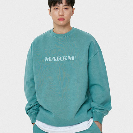 MARKM Sweatshirts Crew Neck Pullovers Unisex U-Neck Long Sleeves Plain Cotton 6
