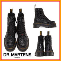 Dr Martens Round Toe Rubber Sole Casual Style Street Style Leather Logo