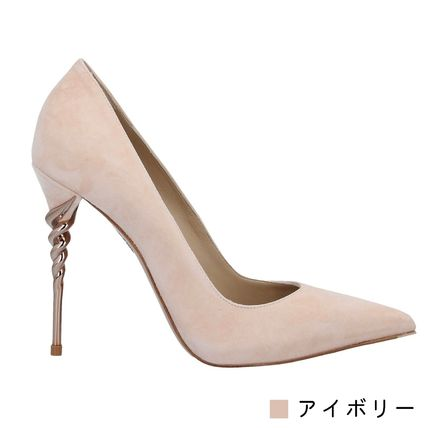 Rubber Sole Casual Style Suede Plain Leather Pin Heels