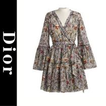 Christian Dior Flower Patterns A-line Flared Elegant Style Puff Sleeves