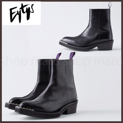 Unisex Suede Studded Street Style Plain Leather Logo Boots