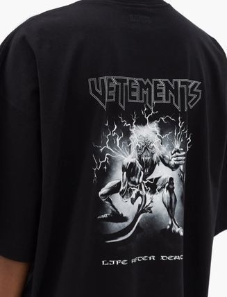 VETEMENTS Logo Cotton Short Sleeves Street Style T-Shirts