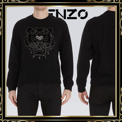 KENZO Crew Neck Pullovers Street Style Long Sleeves Plain Cotton