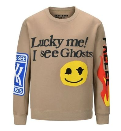 Street Style Long Sleeves Plain Cotton Sweatshirts