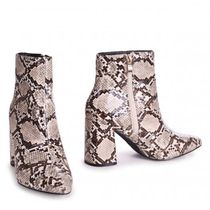 Little Mistress Casual Style Faux Fur Other Animal Patterns Block Heels