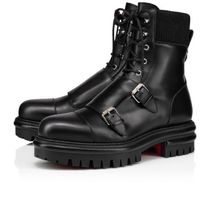 Christian Louboutin Street Style Plain Leather Military Engineer Boots