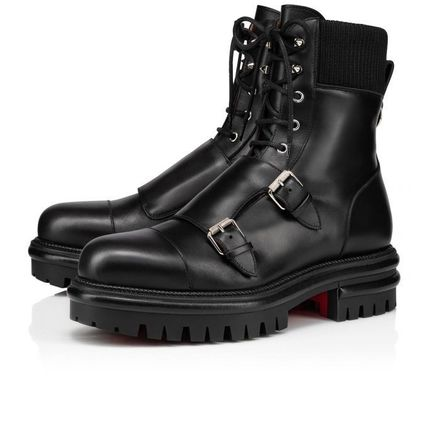 Christian Louboutin Military Plain Leather Street Style Engineer Boots
