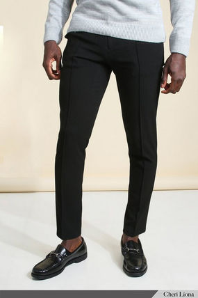boohoo Tapered Pants Plain Street Style Tapered Pants