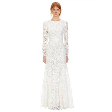 SELF PORTRAIT Maxi Long Sleeves Long Lace Wedding Dresses