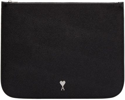 Logo Heart Unisex Street Style Pouches & Cosmetic Bags