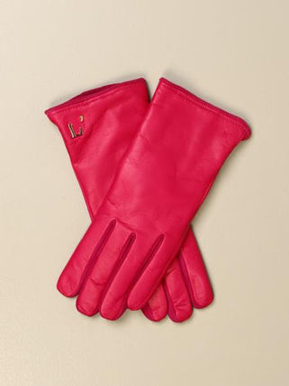 Suede Plain Leather Logo Leather & Faux Leather Gloves