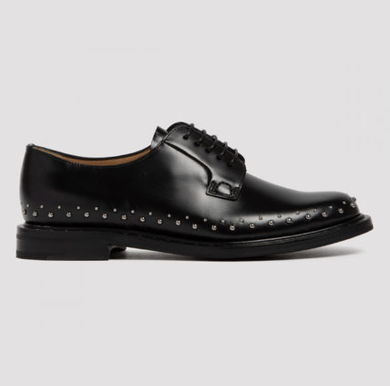 Round Toe Rubber Sole Leather Shoes