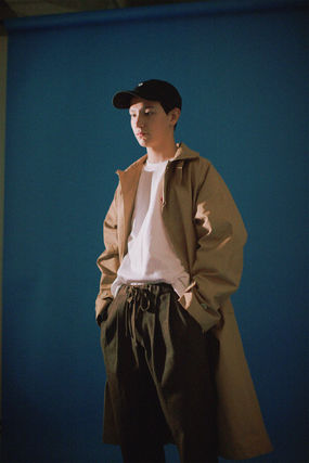YOUNGWALLJUNCTION Stand Collar Coats Street Style Plain Long Oversized Coats