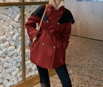 Stand Collar Coats Casual Style Blended Fabrics Bi-color