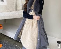 Stand Collar Coats Casual Style Faux Fur Blended Fabrics