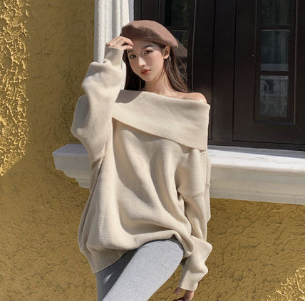 Casual Style Long Sleeves Plain Medium Off the Shoulder