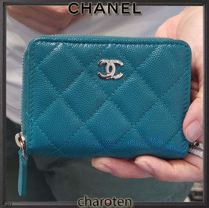 CHANEL TIMELESS CLASSICS Unisex Calfskin Plain Leather Long Wallet  Small Wallet Logo