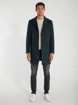 Scotch & Soda Wool Blended Fabrics Street Style Plain Long Chester Coats