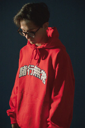 YOUNGWALLJUNCTION Unisex Street Style Cotton Oversized Logo Hoodies