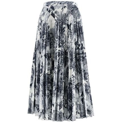 Christian Dior Flower Patterns Denim Casual Style Pleated Skirts Cotton