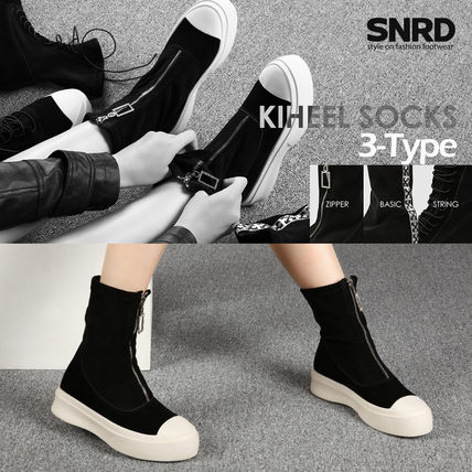 Round Toe Rubber Sole Casual Style Suede Faux Fur Plain