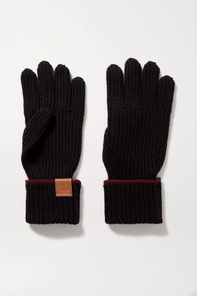 LOEWE Wool Plain Leather Logo Leather & Faux Leather Gloves