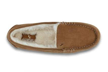 Moccasin Casual Style Suede Fur Plain Logo