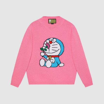 GUCCI Crew Neck Casual Style Unisex Wool Collaboration
