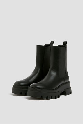 PULL & BEAR Ankle & Booties Platform Round Toe Casual Style Faux Fur Plain Chelsea Boots