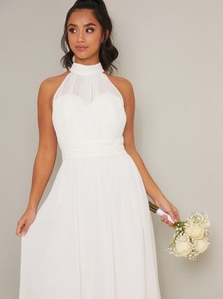 Chi Chi London Maxi Sleeveless Plain Long High-Neck Bridal Wedding Dresses