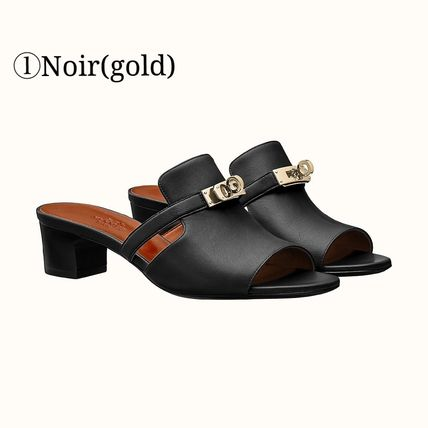 HERMES Kelly Plain Leather Sandals