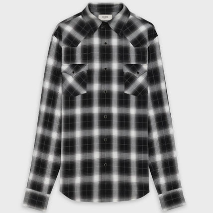 CELINE Shirts Button-down Other Plaid Patterns Street Style Long Sleeves 2