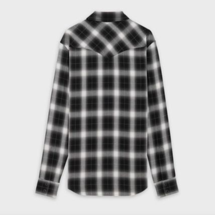 CELINE Shirts Button-down Other Plaid Patterns Street Style Long Sleeves 3