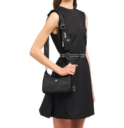 Logo Casual Style Nylon 3WAY Plain Leather Shoulder Bags
