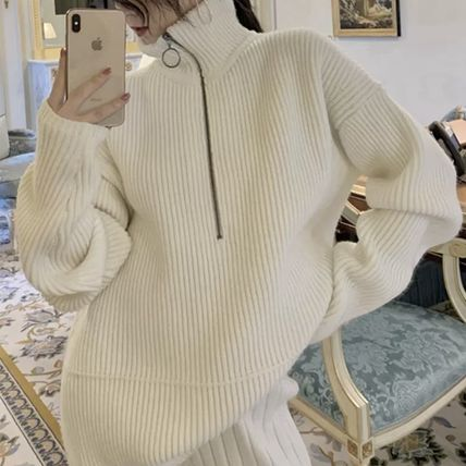 Cable Knit Casual Style Long Sleeves Plain Medium Long