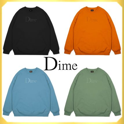Dime Sweatshirts Crew Neck Pullovers Unisex Street Style Long Sleeves Cotton