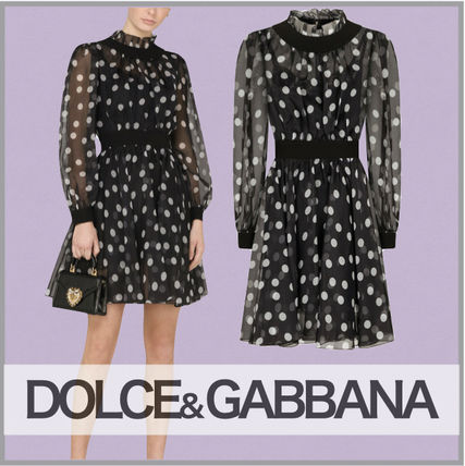 Dolce & Gabbana Dots A-line Silk Long Sleeves Party Style Bridal Sheer