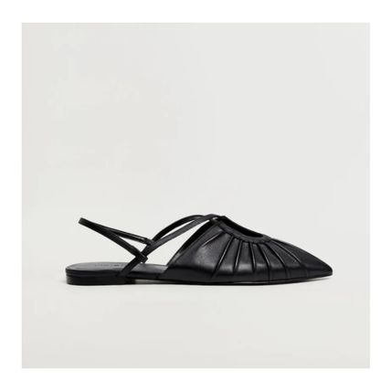 MANGO Platform Casual Style Plain Leather Party Style Office Style