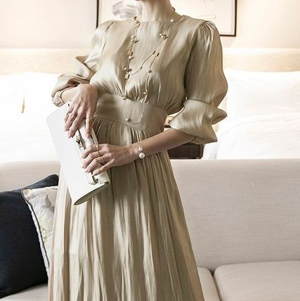 Casual Style Maxi Flared Long Sleeves Plain Long High-Neck