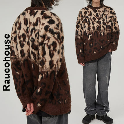 Raucohouse Sweaters Leopard Patterns Unisex Street Style Collaboration